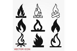 Fire icon vector. Icon illustration