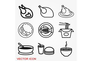 Food icon vector for logo design