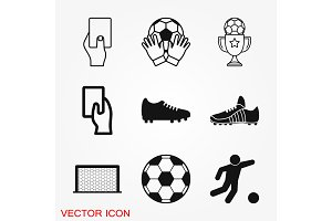 Foot ball, soccer icon sport objects