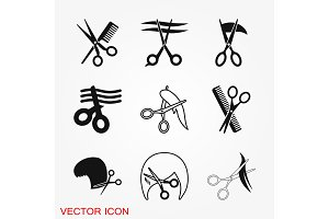 Barber icon vector logo