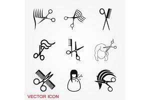 Barber icon vector logo