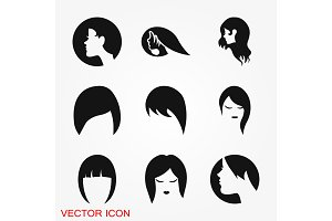 Hairstyle icon. Premium quality