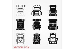 Backpack icon logo, illustration