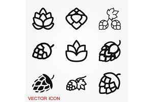 Hop icon logo, illustration, vector