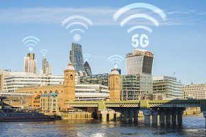 5G concept in the city. Many wireles