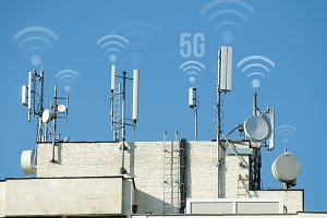 5G antennas and GSM transmitters. Co