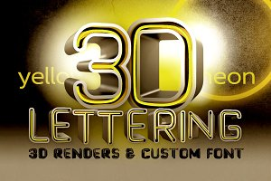 Yellow Neon - 3D Lettering + Font