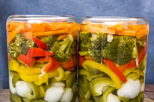 preserved vegetables in jars