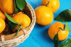 Tangerines on a wooden table