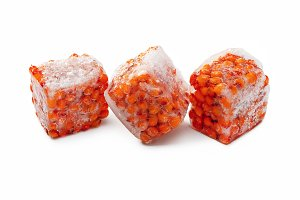Berries in ice cubes.