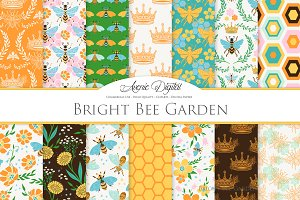 Bright Bee Seamless Vector Patterns