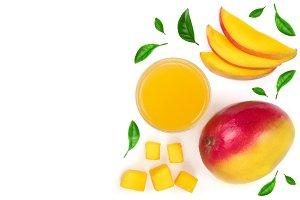 Mango juice and fruit isolated on