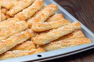 Homemade savory bread sticks with ch