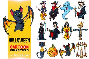 Halloween Cartoon Characters Set