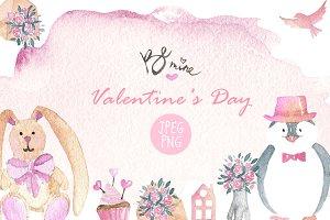 Valentine`s Day watercolor set