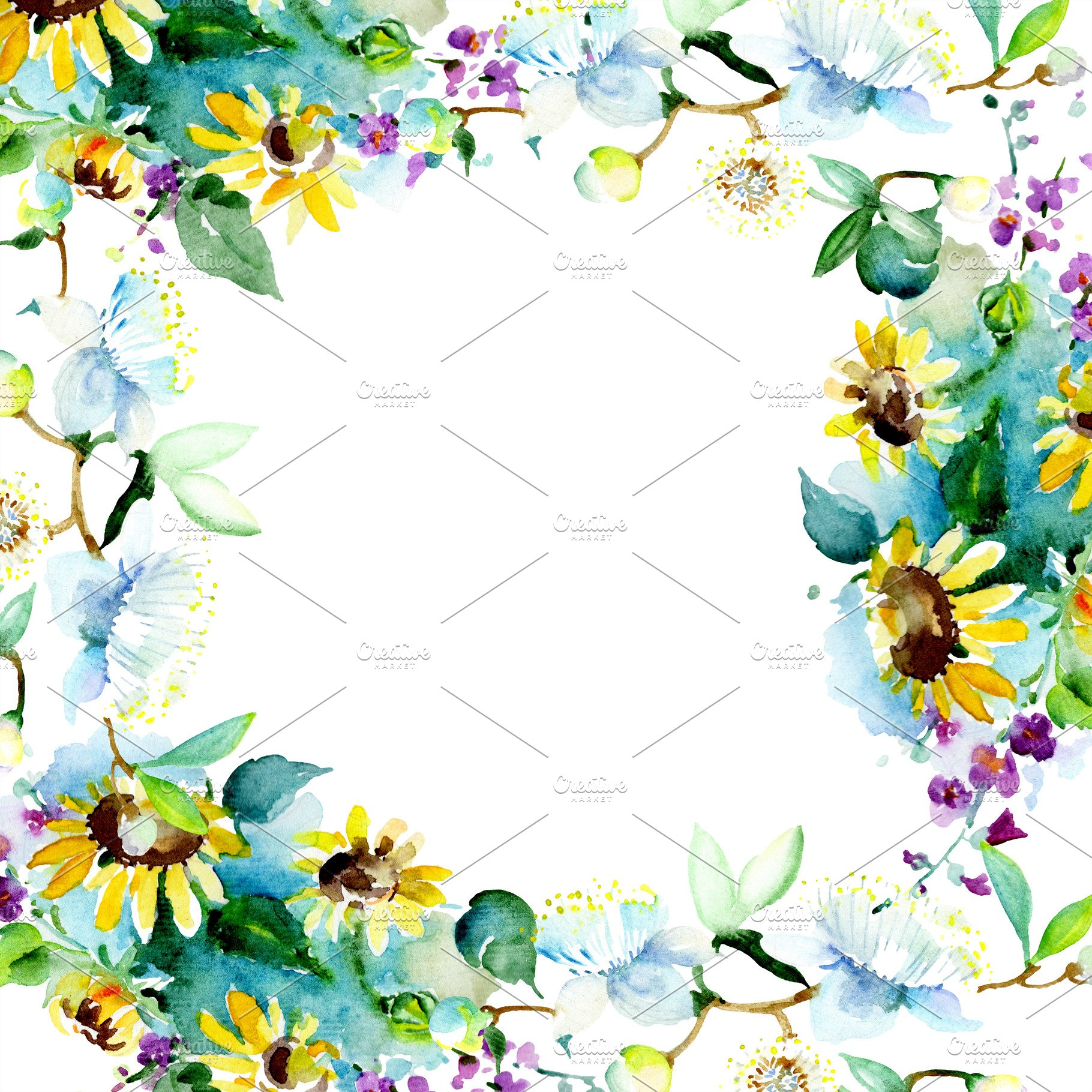 Bouquet Flower Watercolor Background High Quality Holiday Stock
