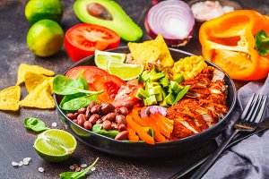 Mexican chicken burrito bowl