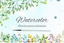 Watercolor floral decorations