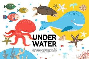 Flat sea fauna template