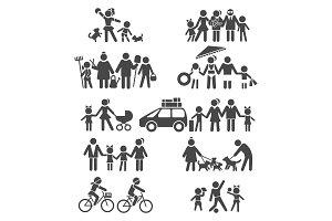 Happy family life pictograms