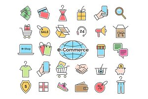Ecommerce color line icons