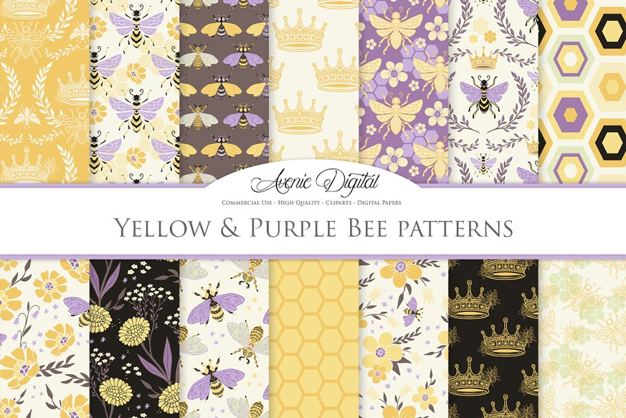 Spring Bee Seamless Vector Patterns