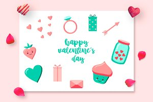 Valentine's Day cartoon set