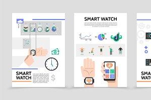 Flat smart watch posters
