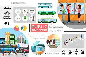 Flat public transport elements