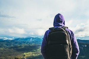 Man enjoys the mountain scenery