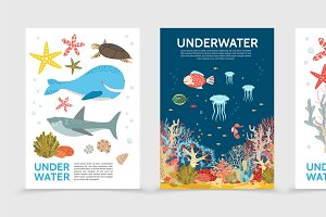Colorful underwater life brochures