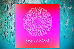 """Yoga School"". Decorative card."