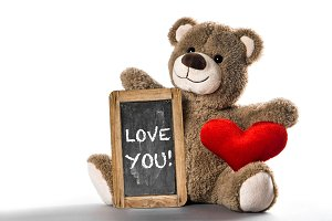 Teddy bear toy red heart Valentines