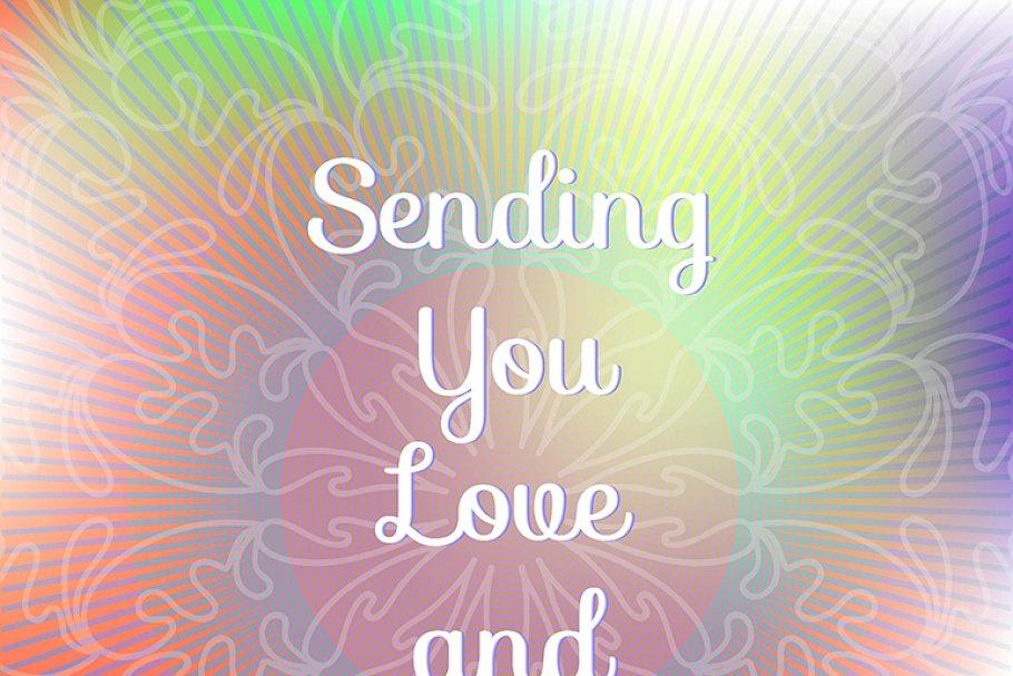 Sending You Love And Light Postcard Templates Creative Market