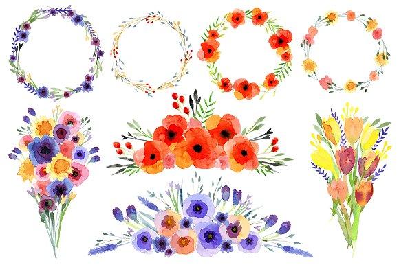 Watercolour Wildflowers clip art ~ Illustrations on Creative Market
