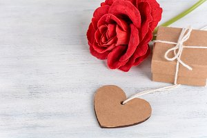 Valentines day card and gift box.