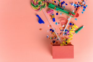 Colorful party frame with birthday o