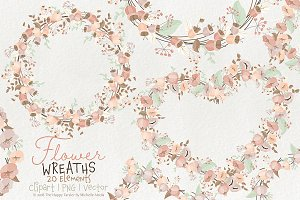 Flower Wreaths BI07 - Floral Clipart