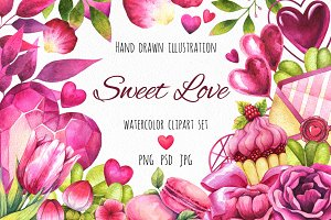 Sweet love - watercolor clipart set