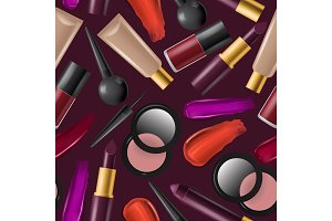 Cosmetic seamless pattern vector