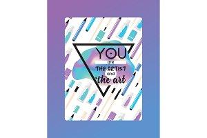 Art supplies vector studying in art