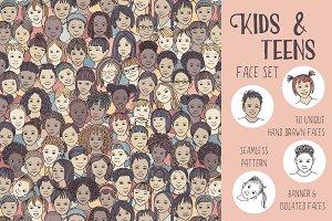 Kids & Teens Set - 70 unique faces