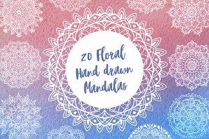 20 Floral hand drawn mandalas