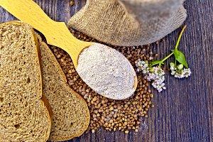 Flour buckwheat in spoon