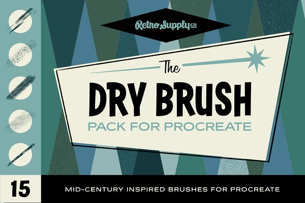 Photoshop Brushes: RetroSupply Co. - The Dry Brush Pack for Procreate