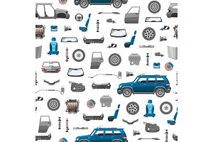 Auto spare parts icons seamless