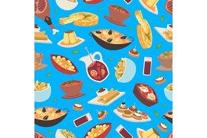 Spanish food vector seamless pattern