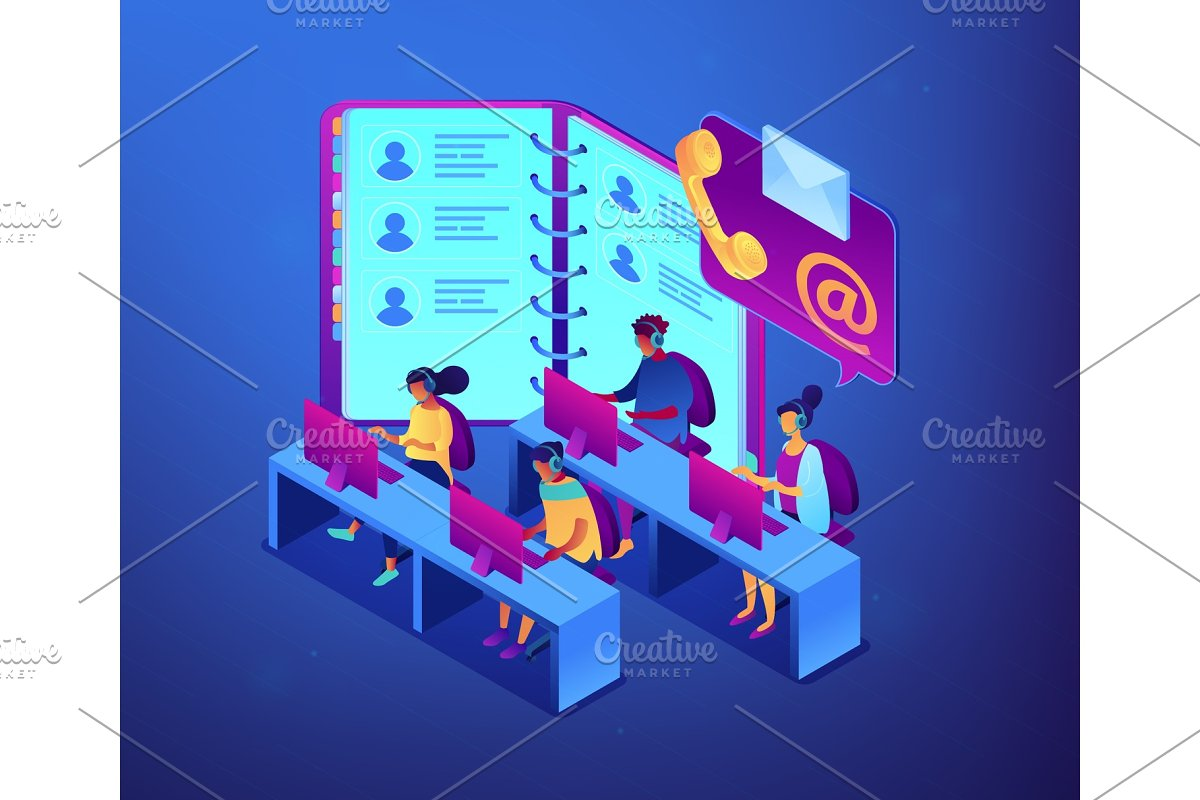 Contact center isometric 3D concept