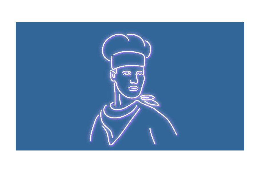 Chef Neon Sign 2D Animation