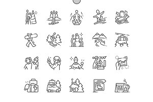 Winter vacation Line Icons